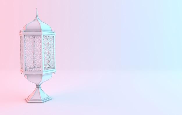 Lanterna branca com candeeiro de vela e decoração árabe com desenho arabesco