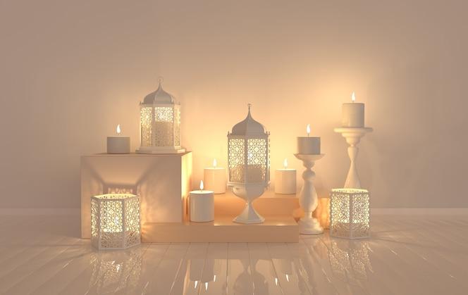 Lanterna branca com vela, lâmpada com decoração árabe, desenho arabesco.