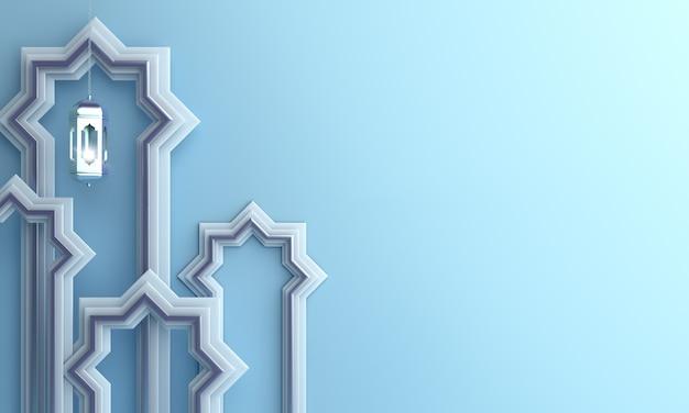 Lanterna de fundo islâmico e janela de mesquita