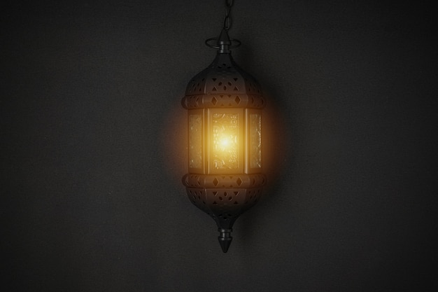 Lanterna de vela deslumbrante do ramadã em fundo preto.
