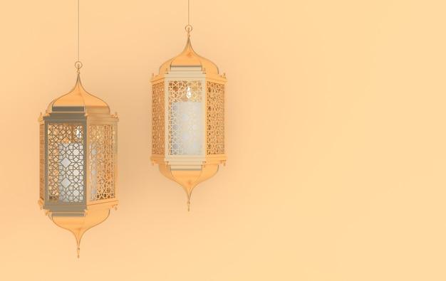 Lanterna dourada com lâmpada de vela com desenho de arabescos de decoração árabe