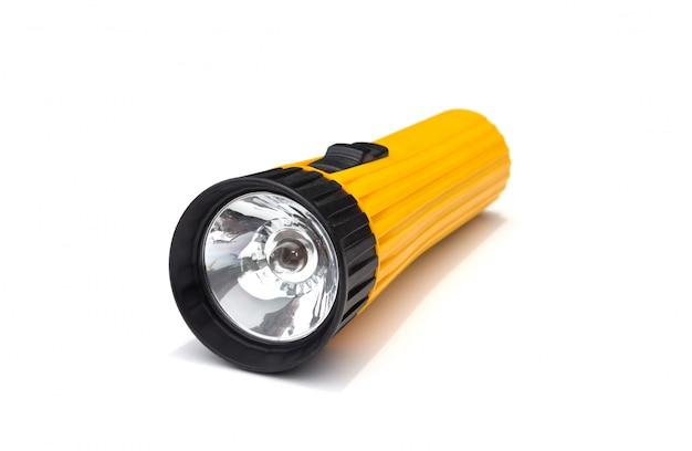 Lanterna elétrica amarela com simples isolado no branco