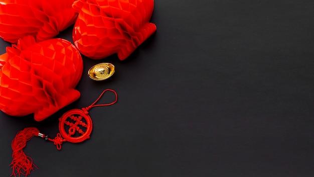 Lanterna vermelha e pingente para o ano novo chinês