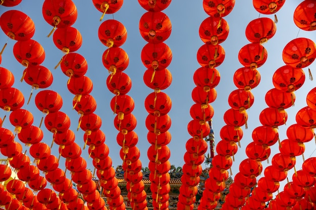 Lanternas de ano novo chinês na área da cidade da china. Foto Premium