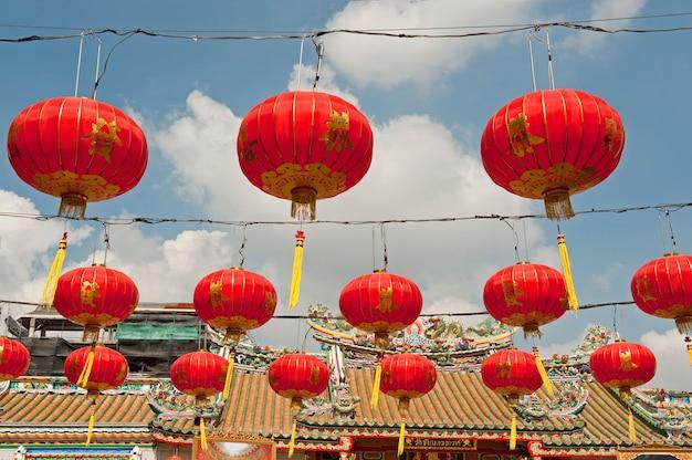 Lanternas de papel chinesas no ano novo chinês