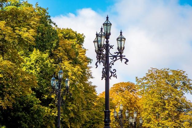 Lanternas entre as árvores do parque da cidade em dias de sol