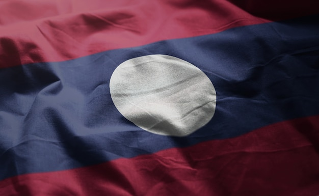 Laos bandeira amarrotada close up