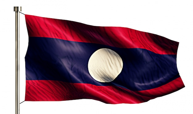 Laos national flag isolated 3d fundo branco