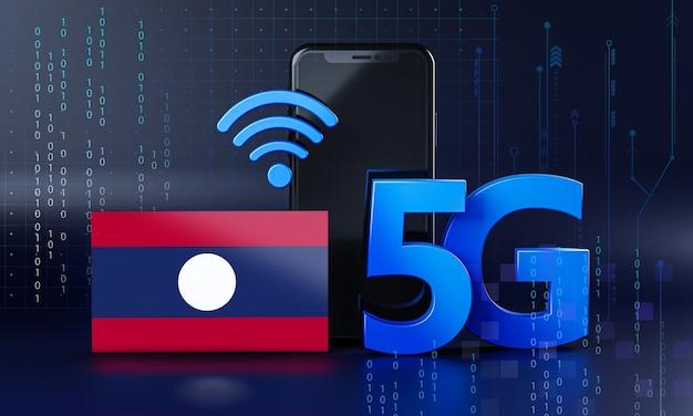 Laos pronto para o conceito de conexão 5g. fundo de tecnologia de smartphone de renderização 3d