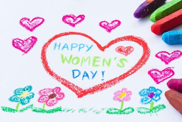Lápis de cor desenho feliz dia da mulher em papel branco