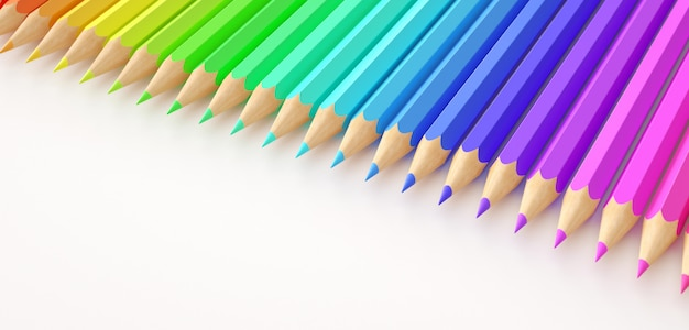 Lápis de cor gradiente em fundo branco.