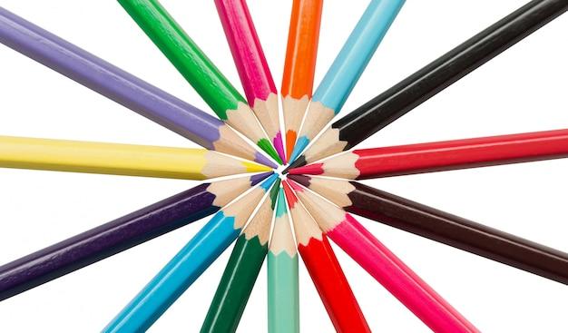 Lápis de cor, lápis coloridos isolados no branco