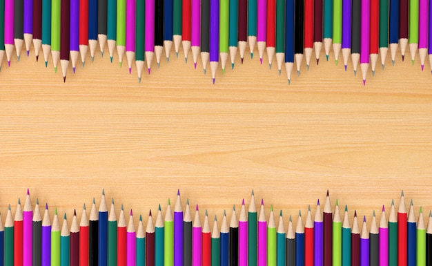 Lápis de cor na placa de madeira, renderização em 3d