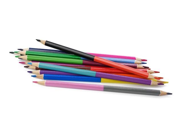 Lápis de madeira de cor afiada sobre fundo branco, vista de cima