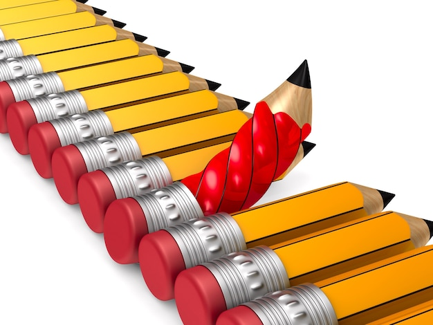 Lápis de madeira vermelho exclusivo com borracha, destacando-se da multidão laranja em fundo branco.