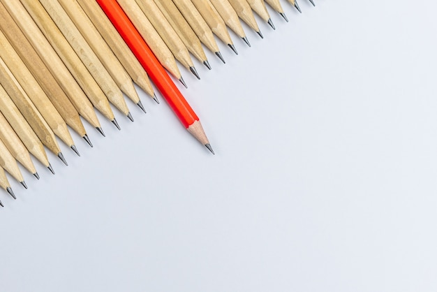 Lápis diferentes destacam a liderança.