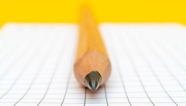Lápis enorme e página de bloco de notas quadriculada.