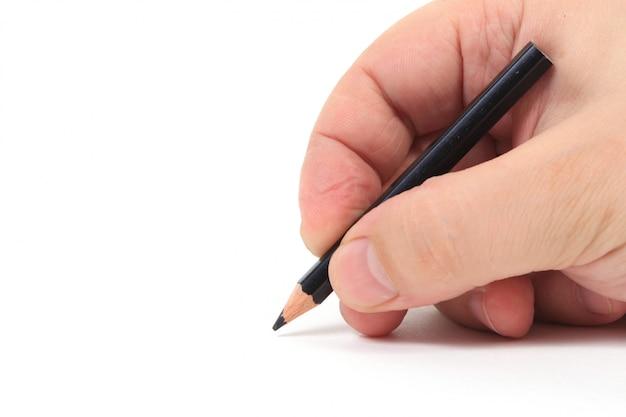 Lápis estacionário em uma mão