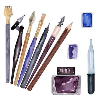Lápis, pincéis e material para escrever em aquarela