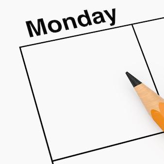 Lápis sobre a célula do agendador de calendário de segunda-feira com espaço vazio para seu projeto closeup extrema. renderização 3d