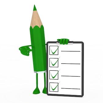 Lápis verde com um questionário positiva