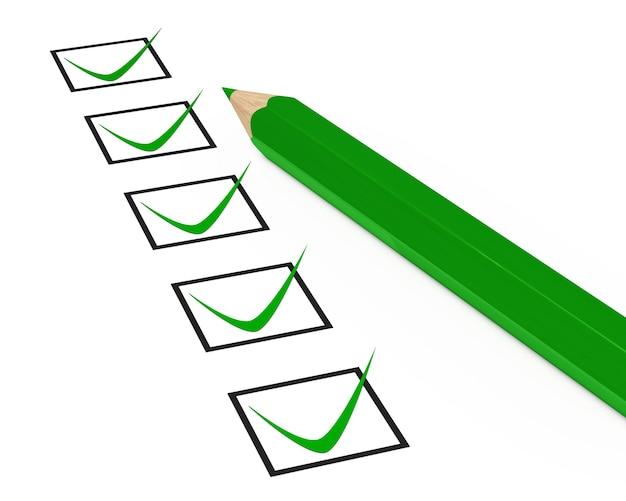Lápis verde com uma lista positiva
