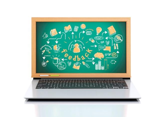 Laptop 3d com esboço de feedback na lousa