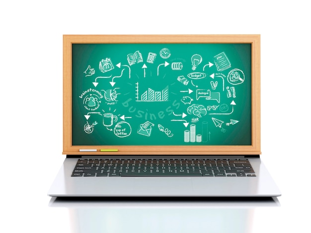 Laptop 3d com esboço de negócios na lousa