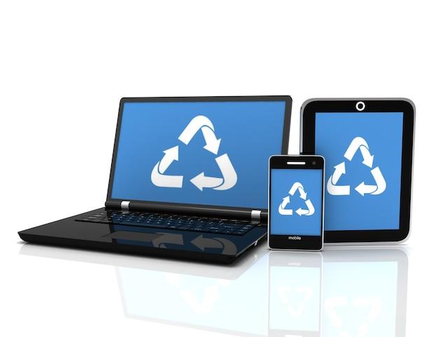 Laptop 3d com um símbolo de reciclagem na tela. conceito de conservação ambiental