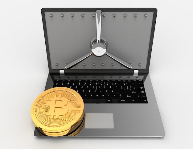 Laptop 3d e bitcoins. ilustração renderizada 3d