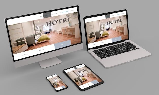 Laptop, celular e tablet mostrando web design responsivo em hotéis