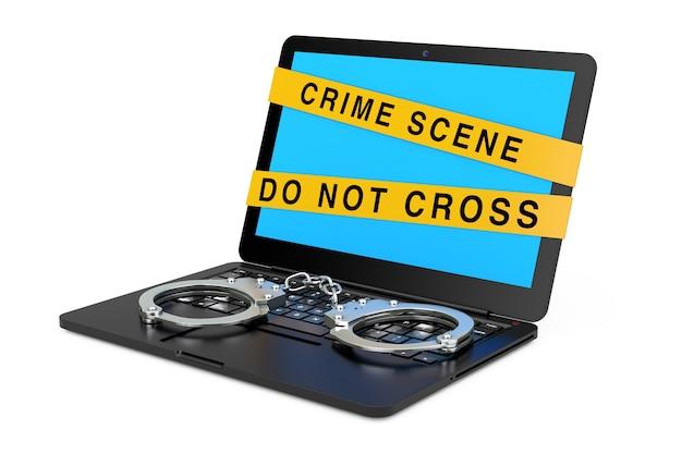 Laptop com algemas e fita de cena de crime em um fundo branco. renderização 3d