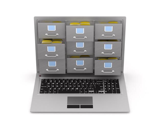 Laptop com armário de arquivo. renderização 3d isolada