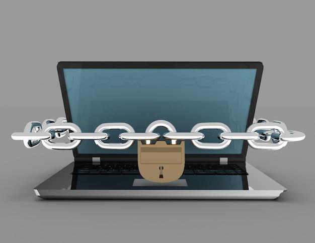 Laptop com correntes e cadeado em fundo branco isolado. 3d