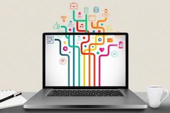 Laptop com diferentes aplicações instaladas