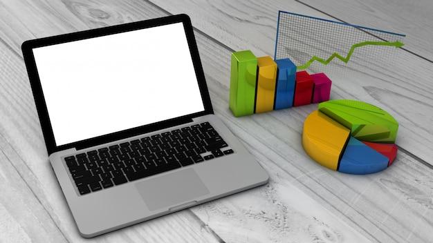 Laptop com gráficos stadistics e gráficos