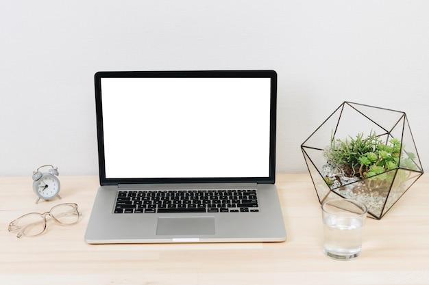 Laptop com planta verde na mesa de madeira