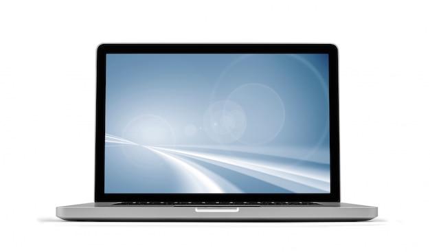 Laptop com protetor de tela isolado no branco