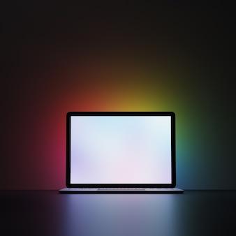 Laptop com tela branca em branco sobre fundo escuro e iluminação multicolor. fundo de iluminação do arco-íris. imagem de renderização de ilustração 3d.