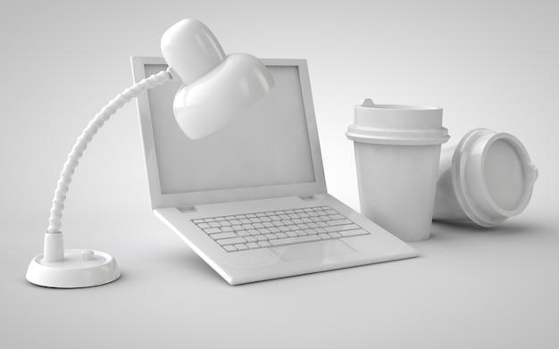 Laptop com xícaras de café, escritório em casa e abajur 3d ilustração maquete monocromática