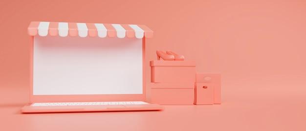 Laptop conceito de compras on-line com maquete de toldo de tela e pacote de compras em fundo rosa