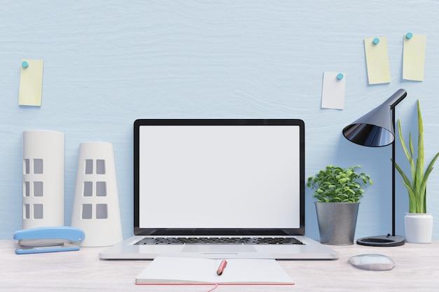 Laptop de maquete na mesa, parede de fundo azul de volta