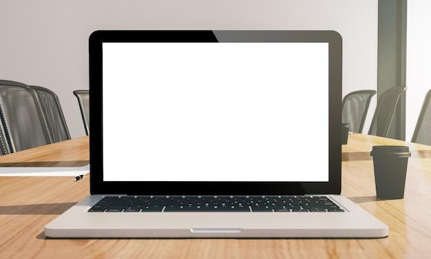 Laptop de tela branca na maquete da sala de conferências