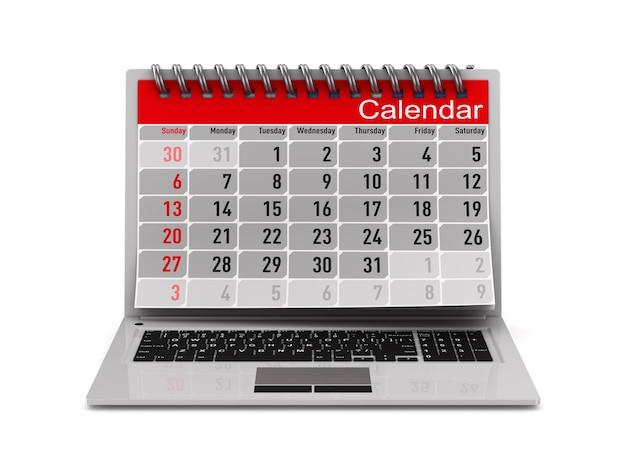 Laptop e calendário em fundo branco. ilustração 3d isolada