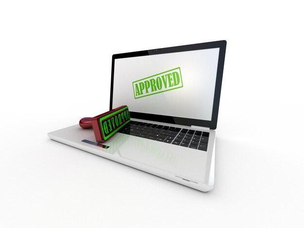 Laptop e carimbo aprovado na tela, renderização 3d