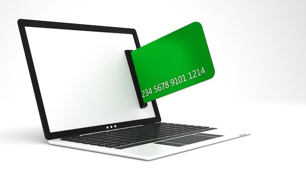 Laptop e cartão de crédito. ilustração 3d, renderização em 3d.