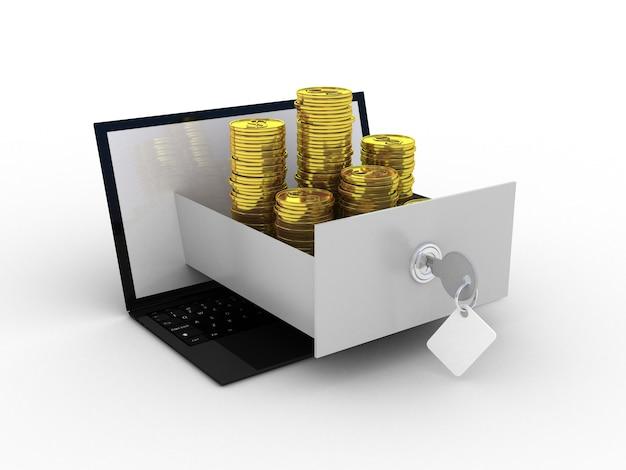 Laptop e dinheiro de ouro
