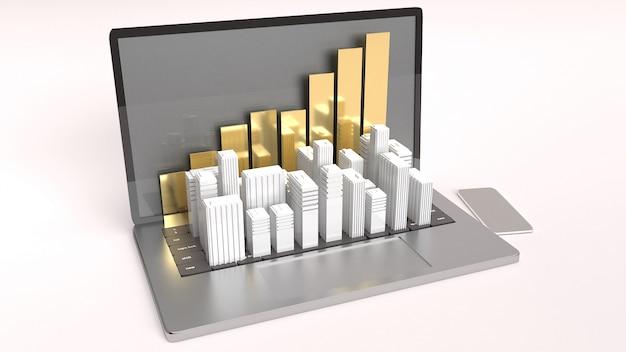 Laptop e edifício branco para renderização 3d do conceito de propriedade