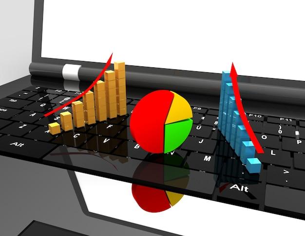 Laptop e gráfico. conceito de negócios