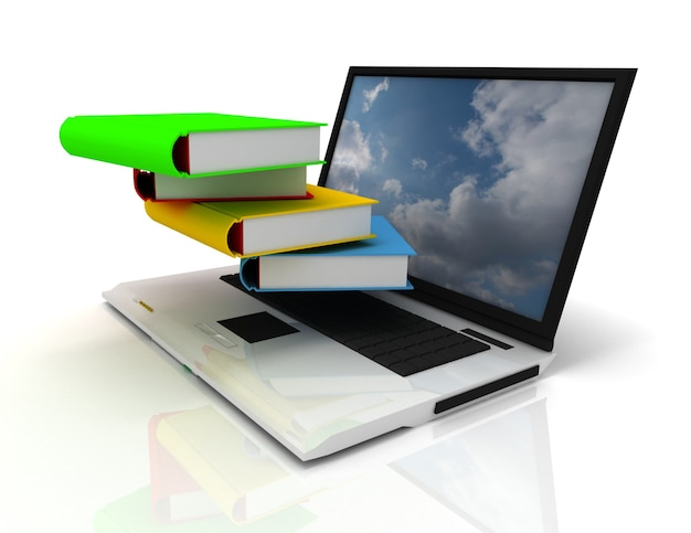 Laptop e livros 3d